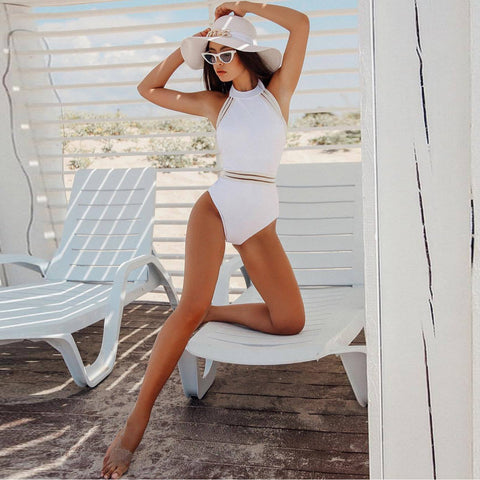 High Neck Halter One Piece Sheer Suit