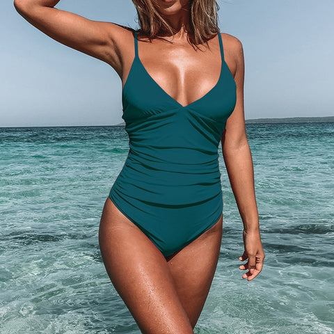 Solid Ruched V-Neck One Piece Swimsuit