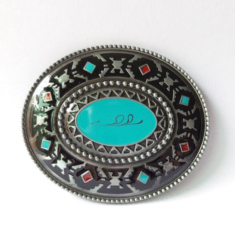 Western Brass and Turquoise Belt Buckle