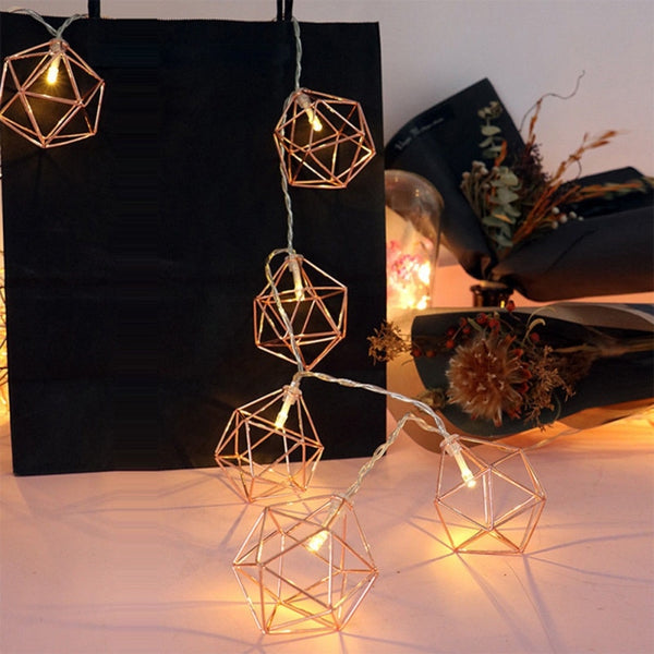 Geometric Gold Outdoor String Lights