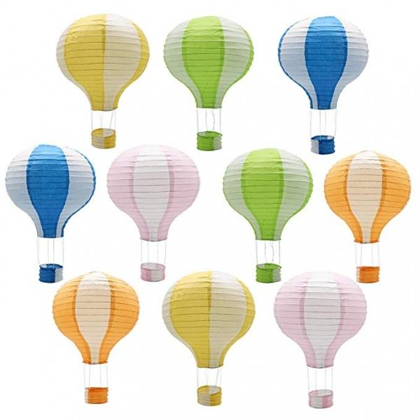 10PCs 12inch /30cm Handmade Hanging Hot Air Balloon Paper Lantern Wedding Party Birthday Decorations - Stripe Style