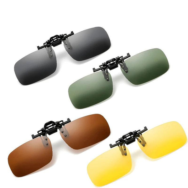 Night Vision Polarized Clip on Sunglasses Eyewear Clip Glasses for Fishing Night Driving Polarizing Lens Clips LXD309