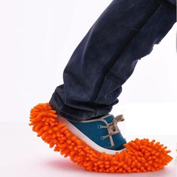 2pcs Washable Chenille Mop Shoes Mopheads for Floor Dust Cleaning Orange