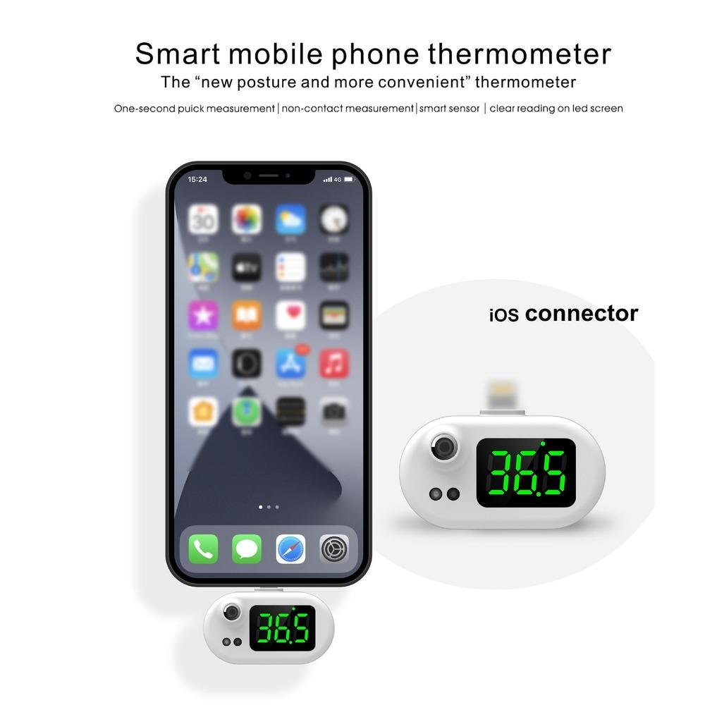 Smart Mobile Phone Thermometer Non Contact Digital Temperature Sensor for Adults & Kid Portable Mini Thermometer Used with Phone