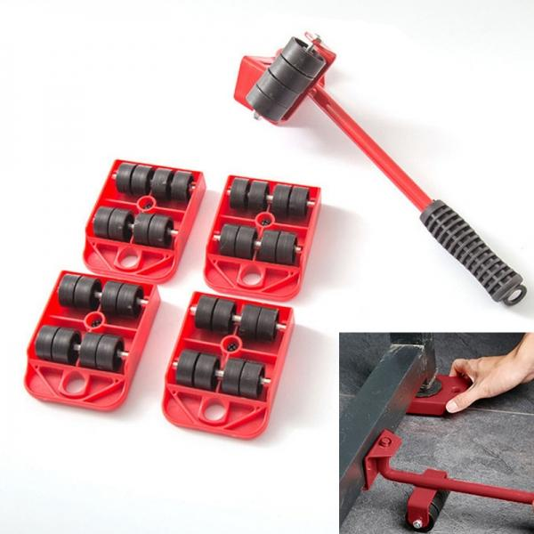 5-in-1 Furniture Lifter Mover Tool Set 1 Lifter And 4 Sliders For Moving Heavy Furniture Appliance Machine Tool - Red