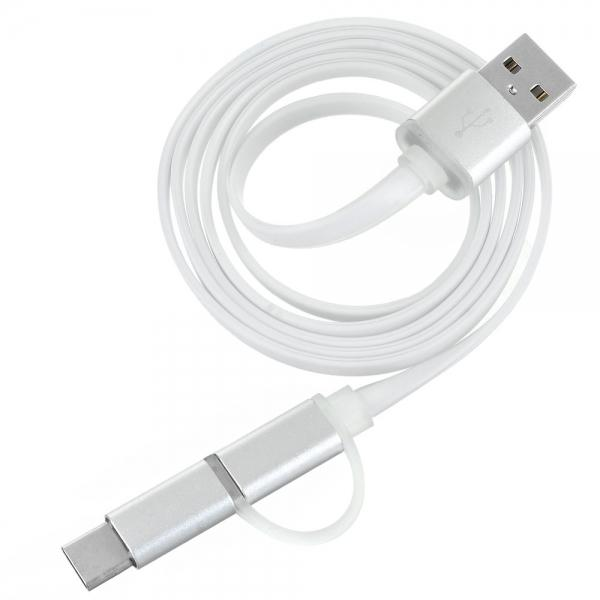 Cwxuan 2-in-1 USB 3.1 Type C / Micro USB to USB 2.0 Data Sync & Charging Cable White
