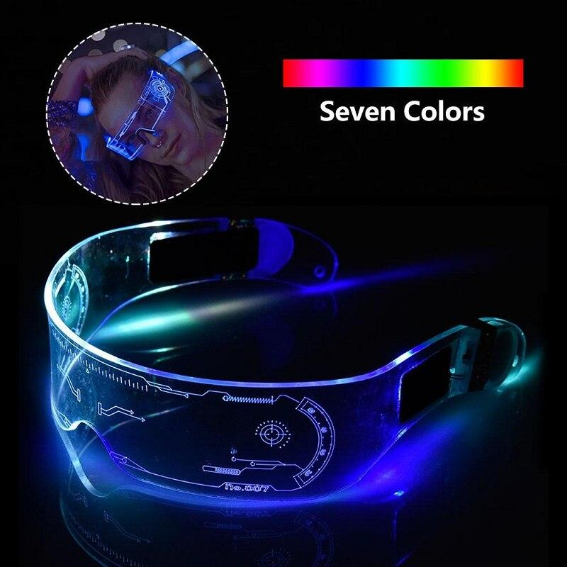 LED Flashing Glasses Light Up Colorful EL Luminous Glasses Cosplay Decoration Bar Party Disco Bengdi Dress Up Future Technology Sense Toy