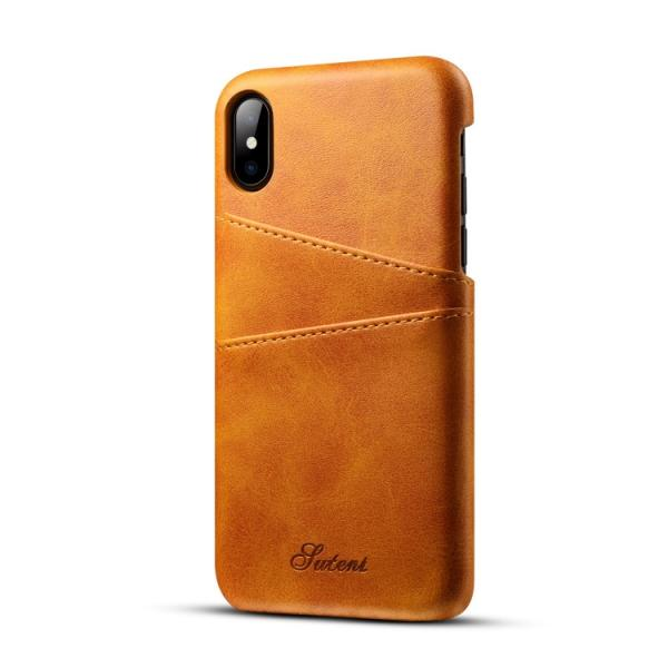 Ultra-thin Leather Phone Back Case With Card Cases for iPhone X Khaki