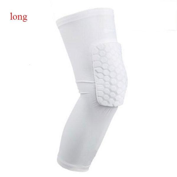 Long Honeycomb Style Sport Safety Crash Protective Knee Pad - White M