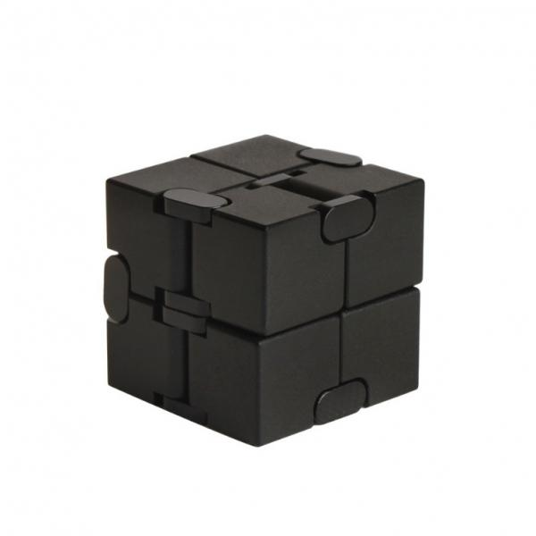 Metal Infinity Cube  Aluminum Alloy White Fidget Pressure Reduction Toy - Black