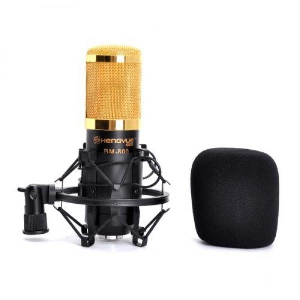 BM-800 High-fidelity Condenser Audio Studio Recordable Wired Microphone with Shock Mount Black