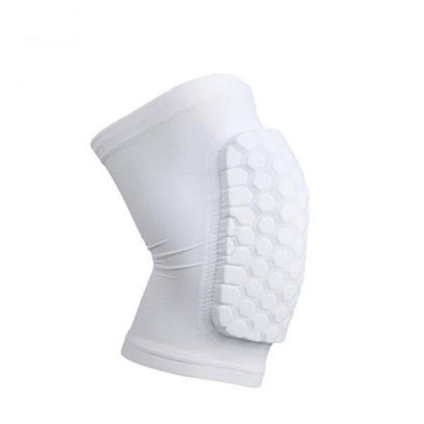 Short Honeycomb Style Sport Safety Crash Protective Knee Pad - White M
