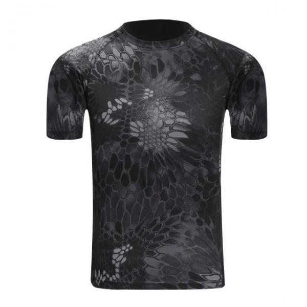 Tactical Camouflage Breathable Quick Dry Army Combat T-Shirt for Men Black Pythons - XL