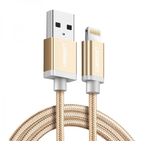 0.5M Ugreen MFI USB Lightning Cable for iPhone 8/Plus/X iPad Fast Charge Gold