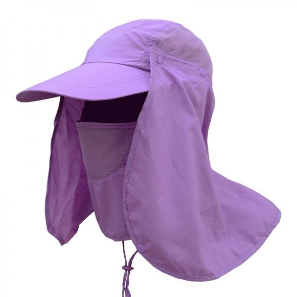 Quick Dry Neck Cover Sun Fishing Hat Ear Flap Bucket Outdoor - Purple