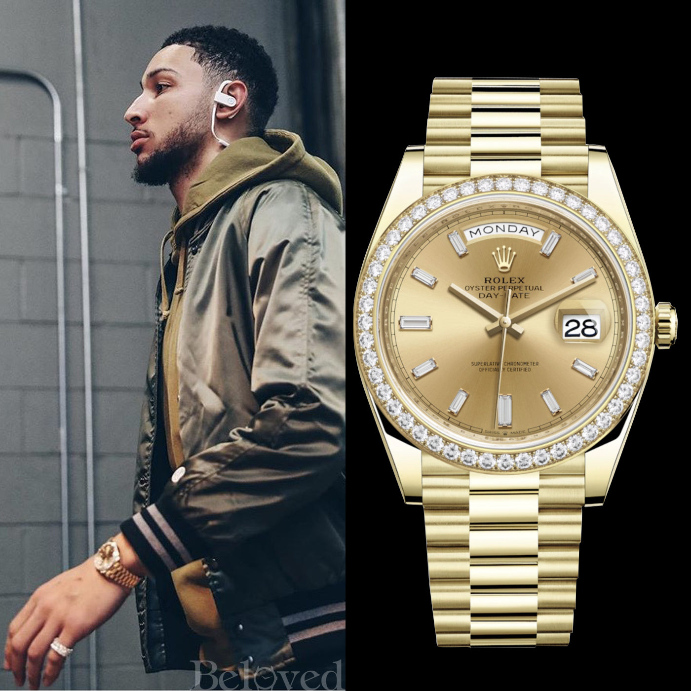 Ben Simmons wearing a Rolex Day-Date 40MM 18k Yellow Gold President Model 228348RBR with Factory Diamond Dial and Factory Diamond Baguette Champagne Dial (Photo Above)