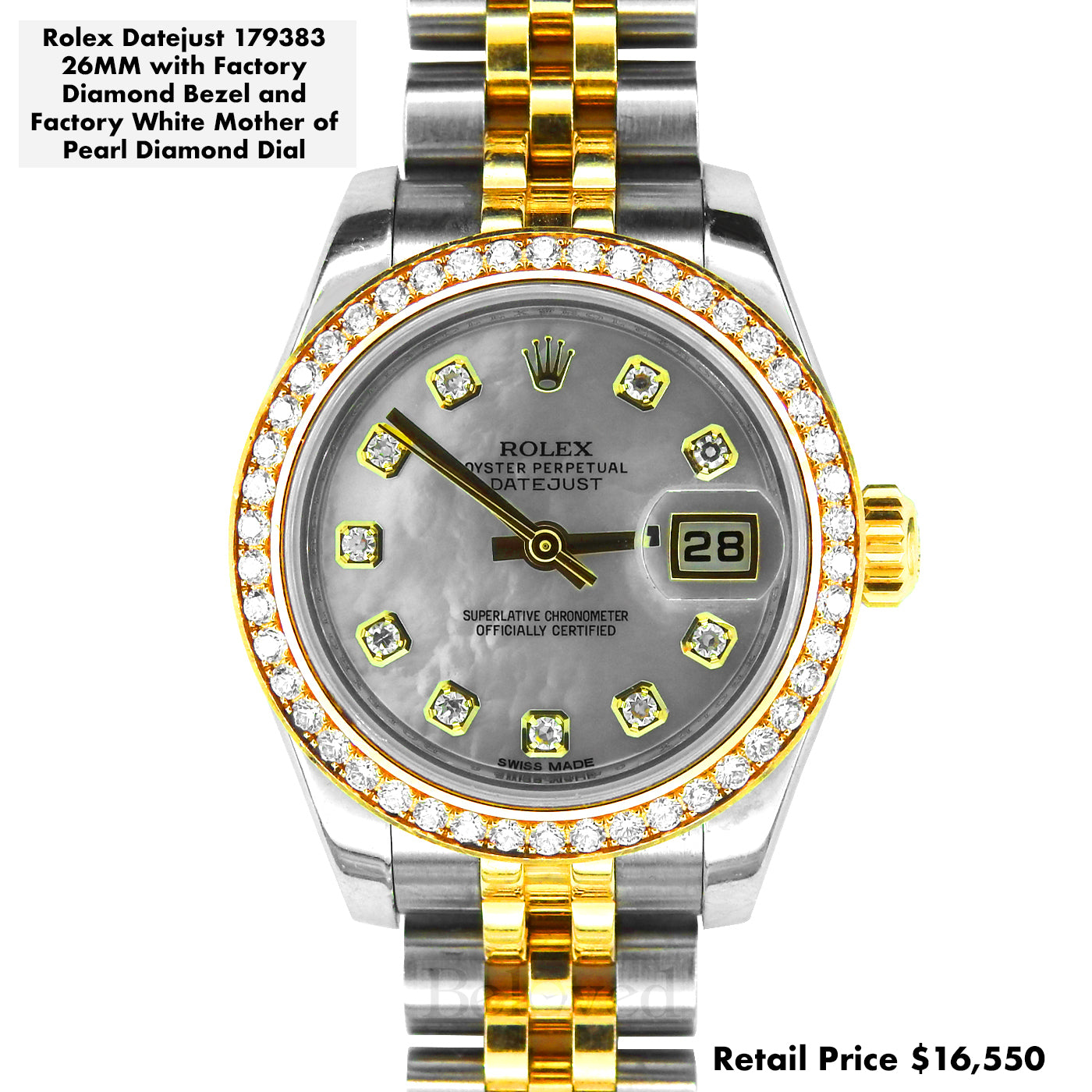 Rolex Lady Datejust 26 179383 White Mother of Pearl Factory Diamond Dial Diamond Bezel Yellow Gold Stainless Steel Jubilee