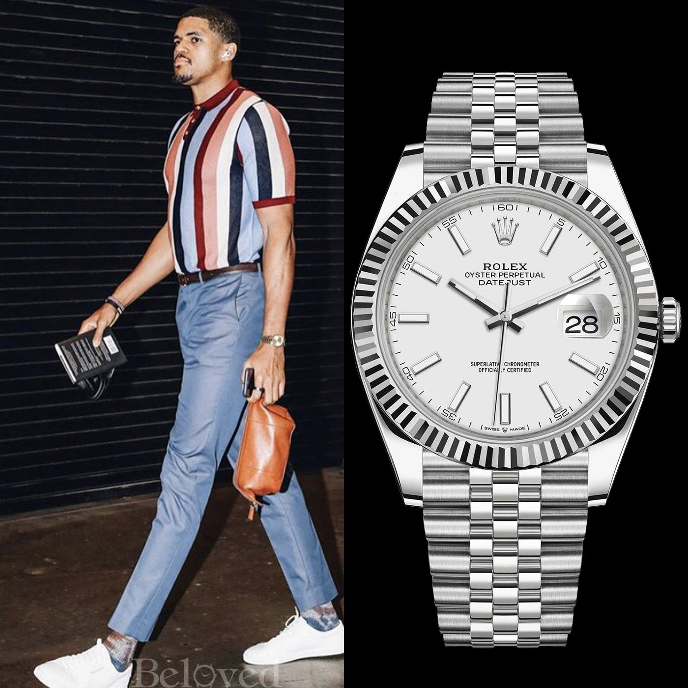Tobais Harris wearing a Rolex Datejust II 126334 41mm White Stick Jubilee
