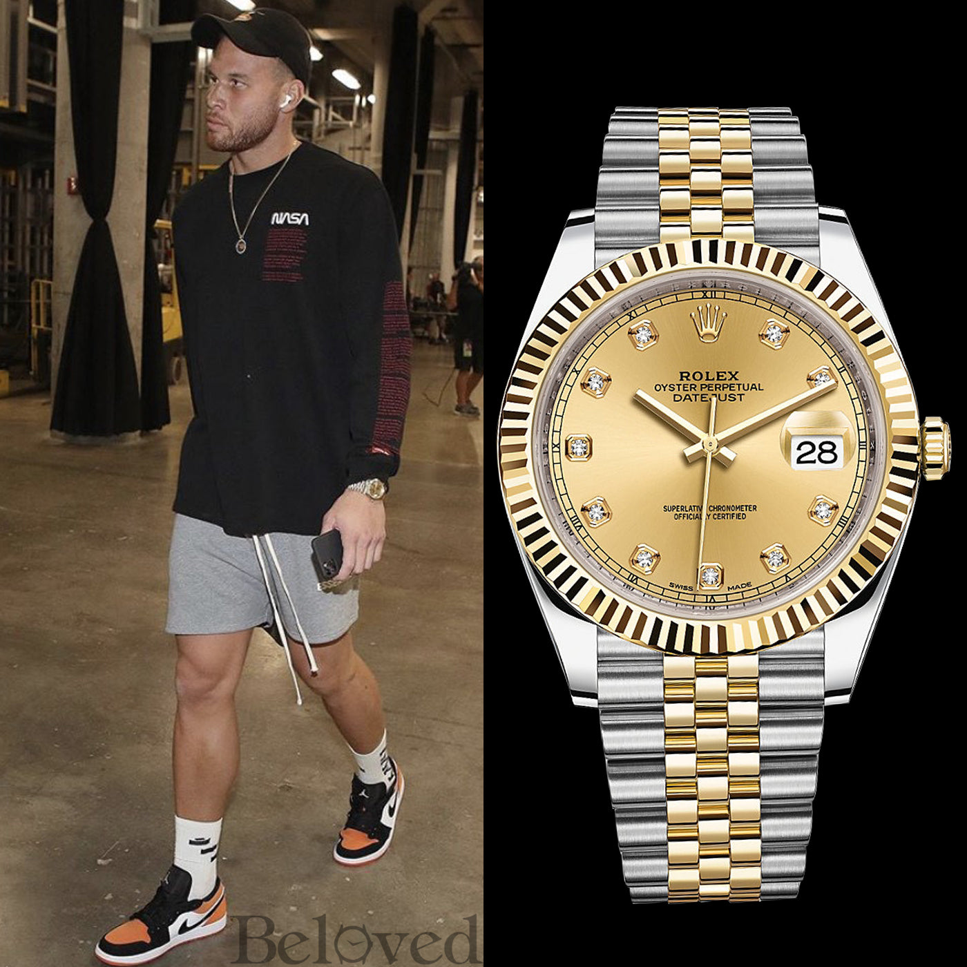 Blake Griffin wearing a Rolex Datejust II 126333 41MM Factory Champagne Diamond Dial Two-Tone Jubilee