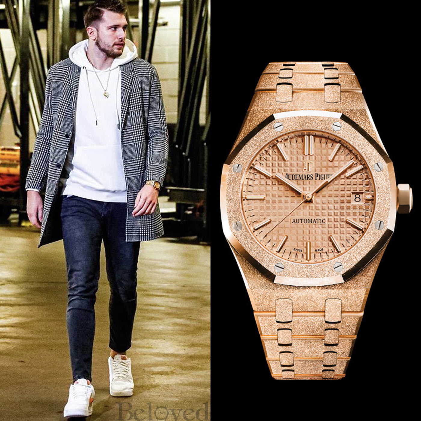 Luka Doncic wearing a Audemars Piguet Royal Oak Frosted 18k Pink Gold Model 15454OR.GG.1259OR.03 (Photo Above)