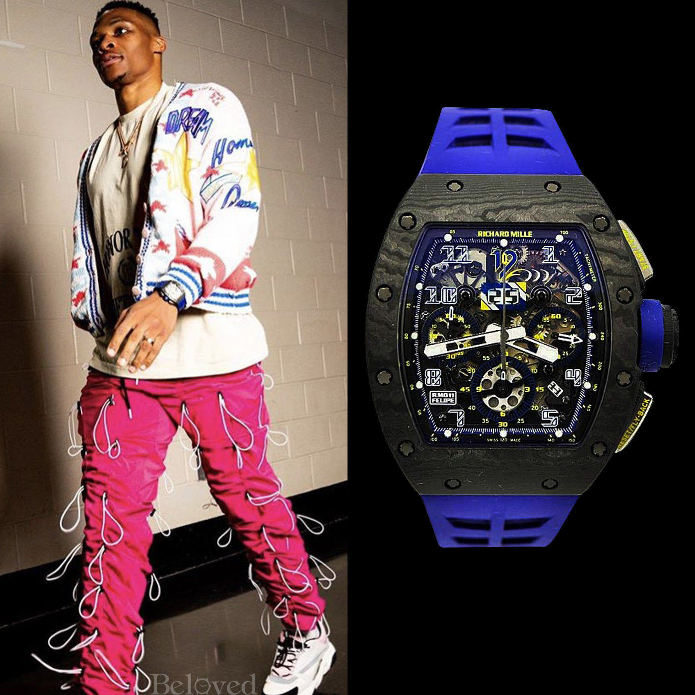 Russel Westbrook wearing a Richard Mille RM011 Felipe Massa NTPT 10th Anniversary Limited Edition in Titanium on Blue Strap