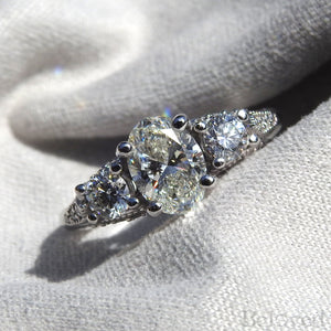 1.00 ct. H/SI1 Oval Diamond Engagement Ring - GIA Certified
