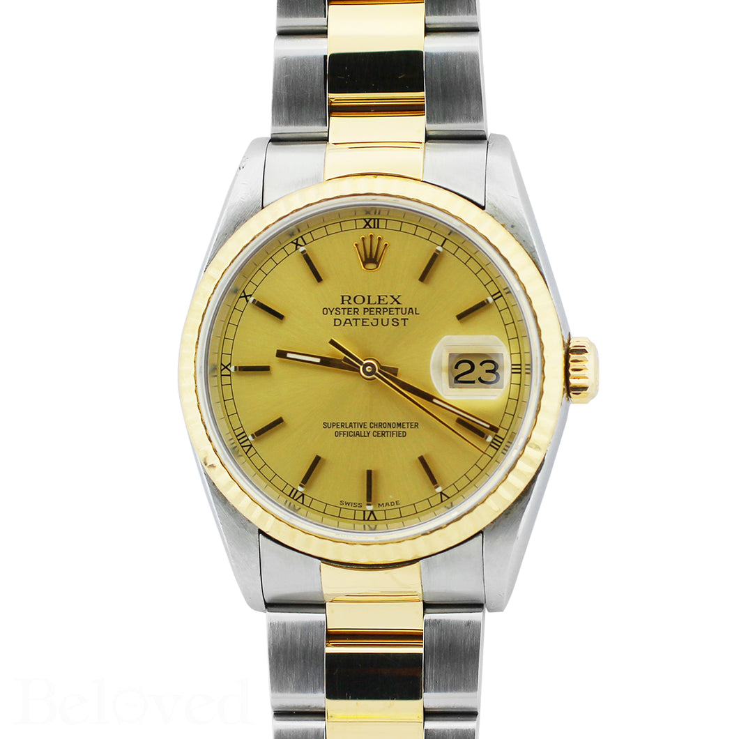 Rolex Datejust 16233 Champagne Fluted Bezel Image 1