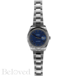 Rolex Datejust II 116334 Blue Roman Dial with Five Year Warranty Card and Rolex Box Image 3