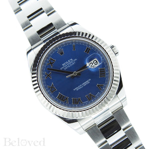 Rolex Datejust II 116334 Blue Roman Dial with Five Year Warranty Card and Rolex Box Image 4