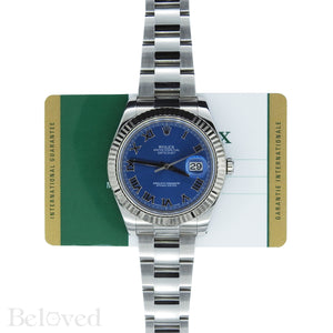 Rolex Datejust II 116334 Blue Roman Dial with Five Year Warranty Card and Rolex Box Image 2