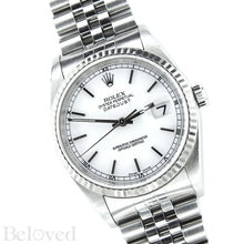 Load image into Gallery viewer, Rolex Datejust 16234 White Dial with Box and Papers Image 3