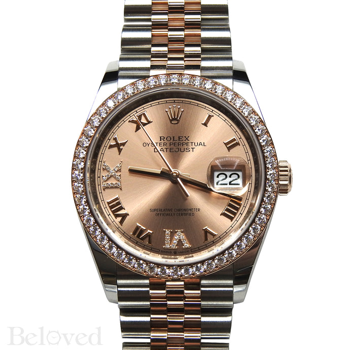 Rolex Datejust 126281RBR with Full Factory Diamond Bezel and Sunburst Salmon Factory Diamond Six and Nine Image 1