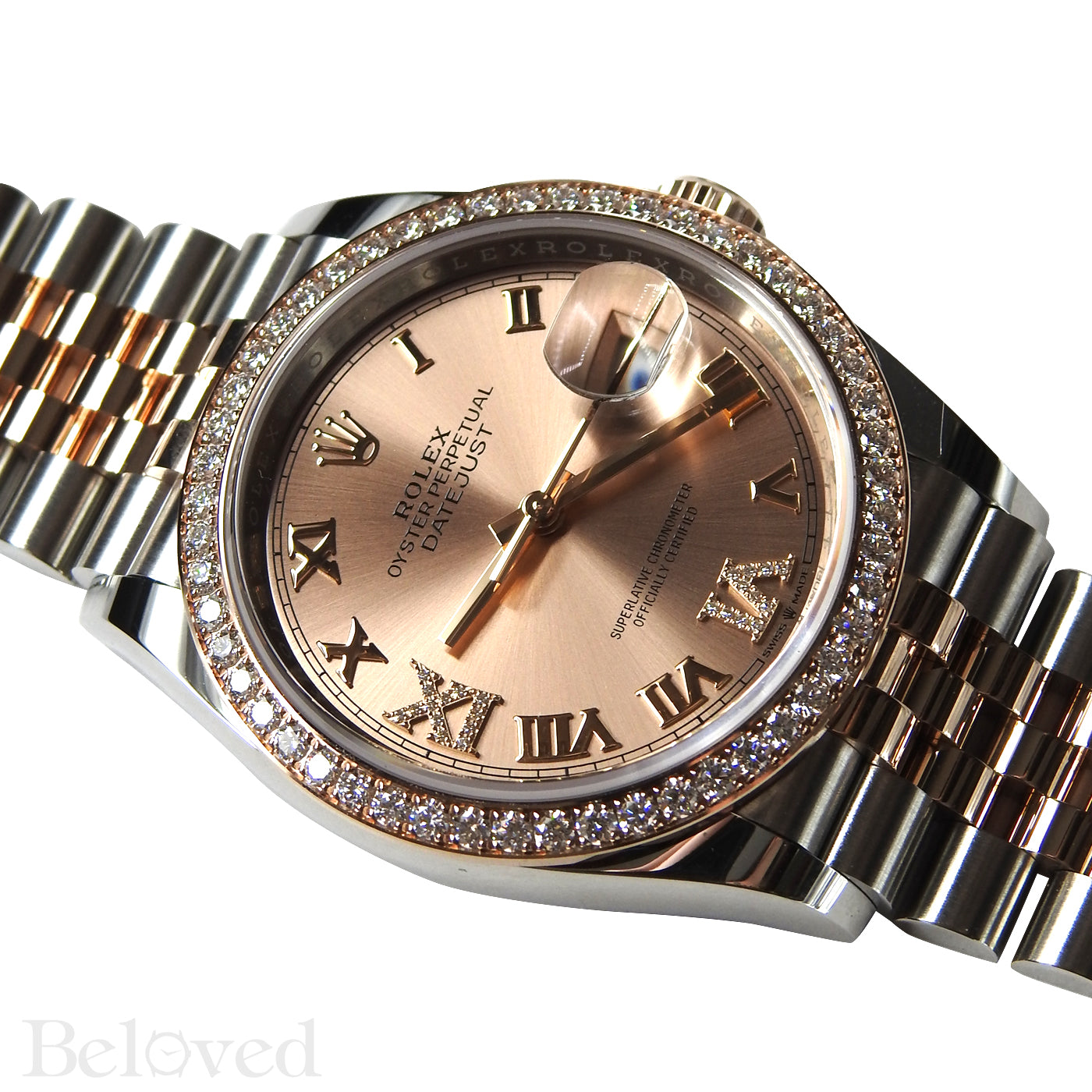 Rolex Datejust 126281RBR with Factory Diamond Bezel and Factory Diamond Dial Rose Gold and Steel