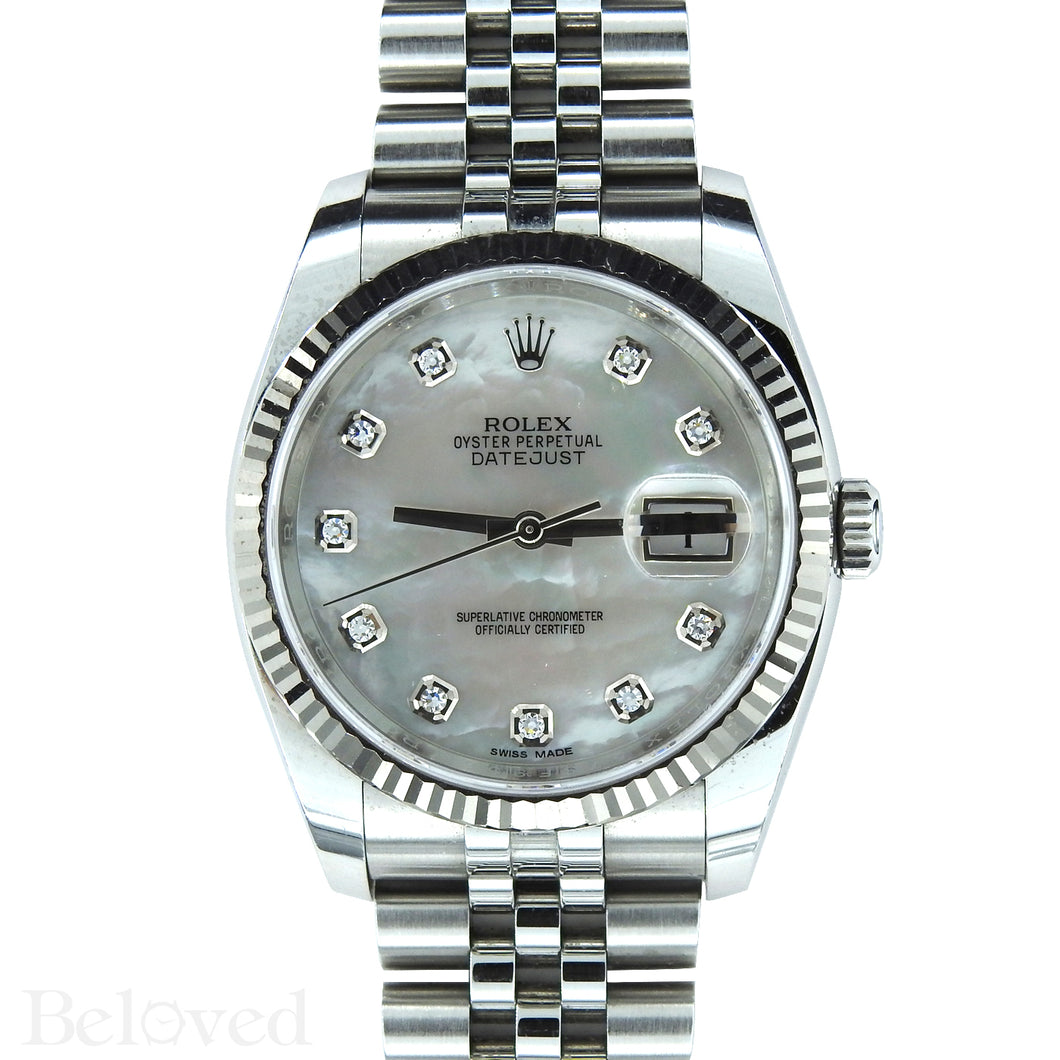 Rolex Datejust 116234 with Factory Diamond White Mother of Pearl Dial Image 1