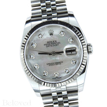 Load image into Gallery viewer, Rolex Datejust 116234 with Factory Diamond White Mother of Pearl Dial Image 2