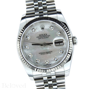 Rolex Datejust 116234 with Factory Diamond White Mother of Pearl Dial Image 2