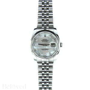 Rolex Datejust 116234 with Factory Diamond White Mother of Pearl Dial Image 3