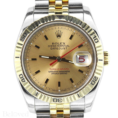Rolex Datejust Turnograph 116263 Champagne Dial with Red Seconds Hand Image 3