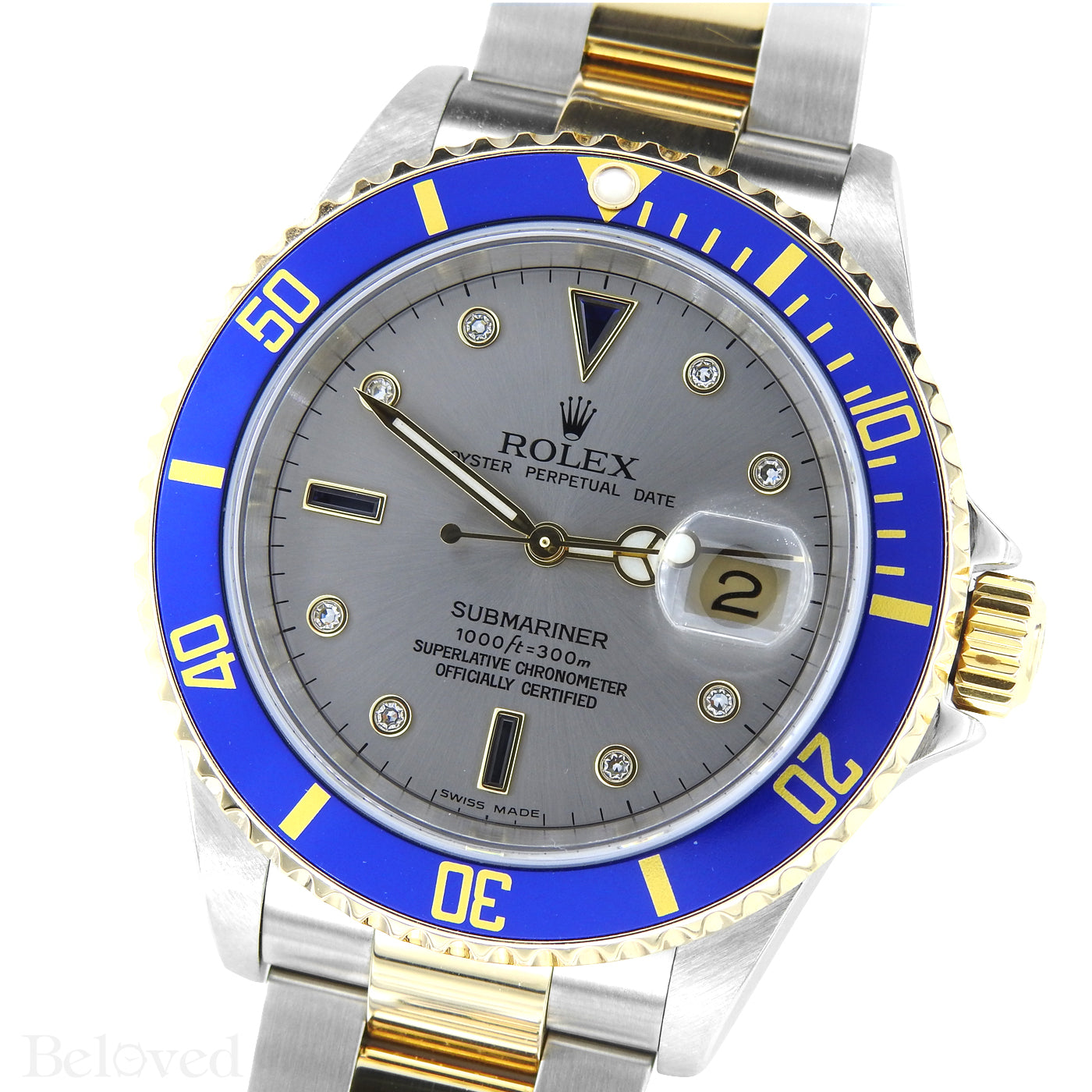 Rolex Two-Tone Submariner with Slate Serti Factory Diamond & Sapphire Dial
