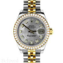 Load image into Gallery viewer, Rolex Datejust 179383 Full Factory Diamond Bezel Factory White Mother of Pearl Diamond Dial Image 1