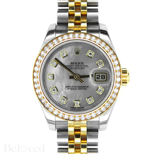 Rolex Datejust 179383 Full Factory Diamond Bezel Factory White Mother of Pearl Diamond Dial Image 1
