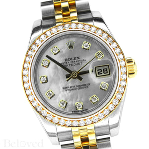 Rolex Datejust 179383 Full Factory Diamond Bezel Factory White Mother of Pearl Diamond Dial Image 3