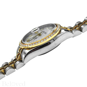 Rolex Datejust 179383 Full Factory Diamond Bezel Factory White Mother of Pearl Diamond Dial Image 7