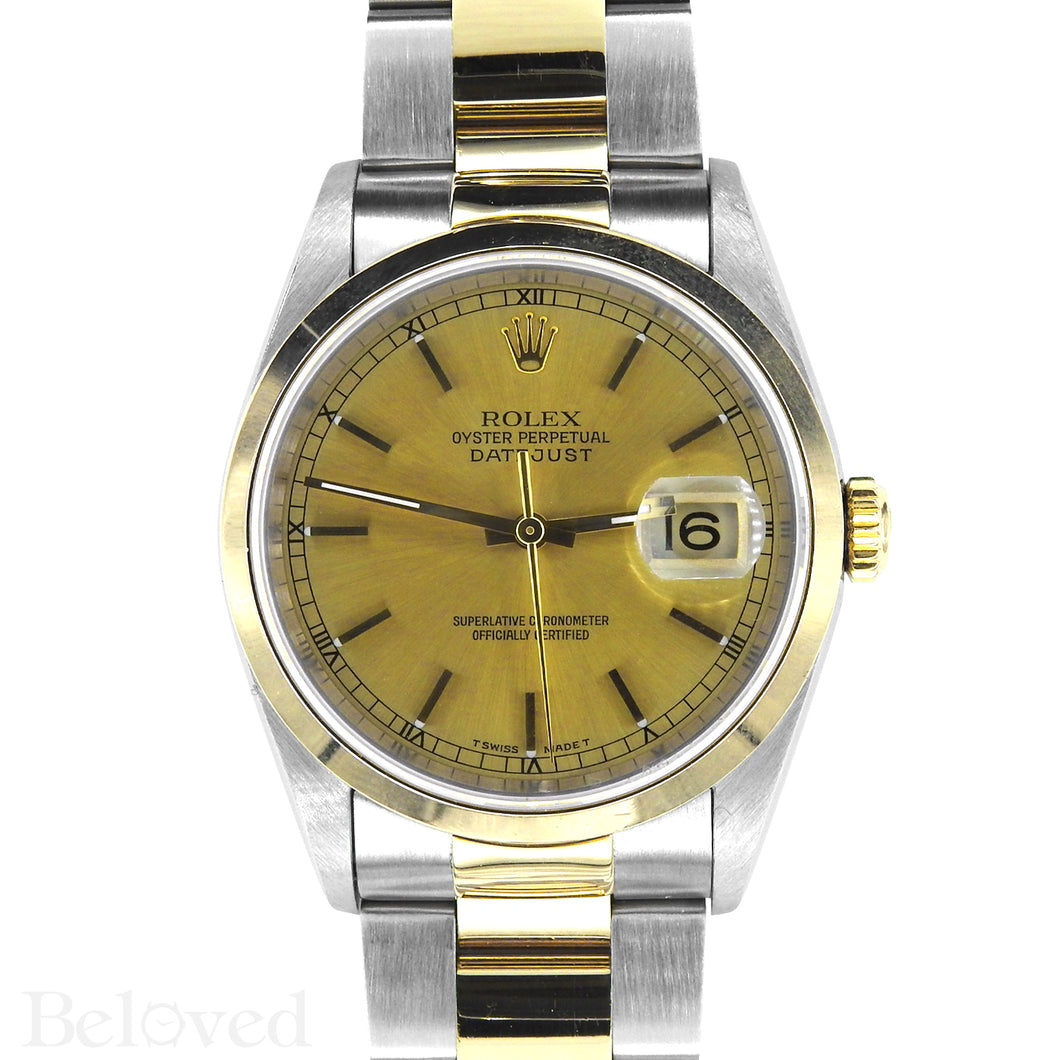 Rolex Datejust 16203 Champagne Smooth Bezel Image 1