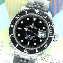 Load image into Gallery viewer, Rolex Submariner 16610 Complete with Rolex One-Year Warranty Paper and Rolex Box Image 6