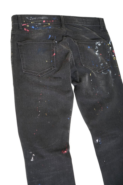EMBROIDERED PAINT SPLATTERED JEANS
