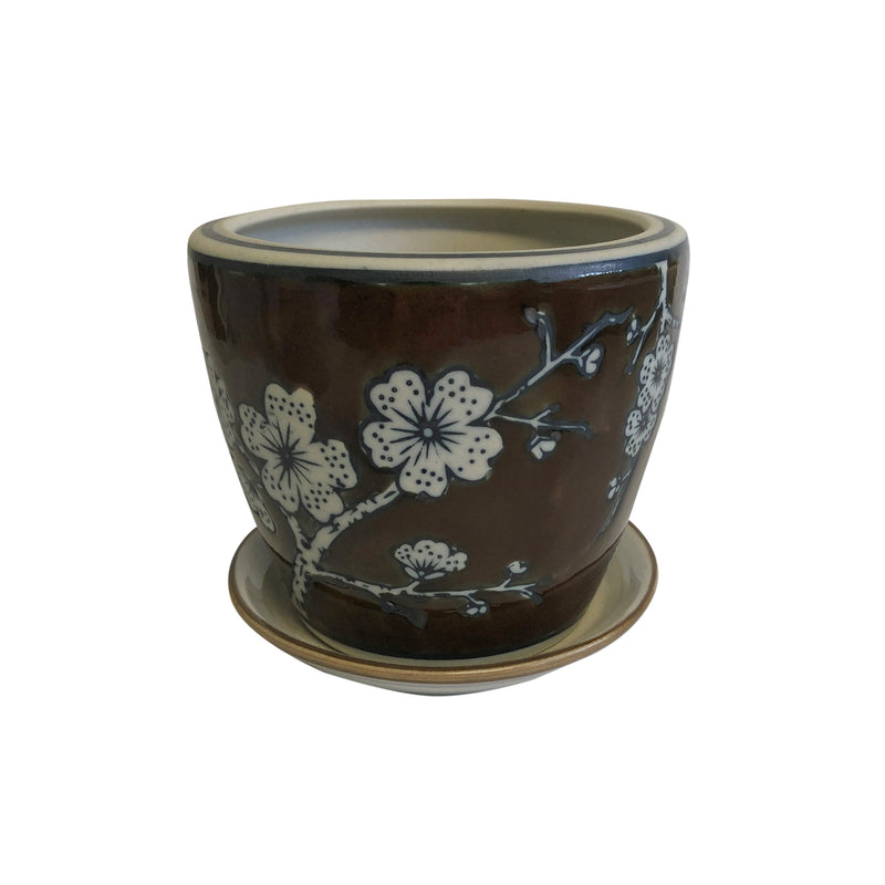 Ceramic Blossam Pot Planter with Saucer