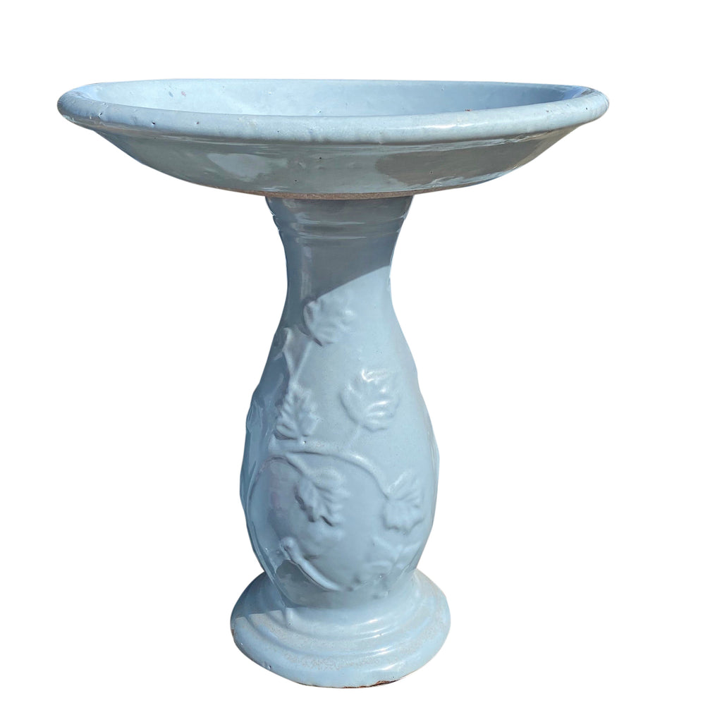 Ceramic Light Blue Bird Bath with Filagree Base