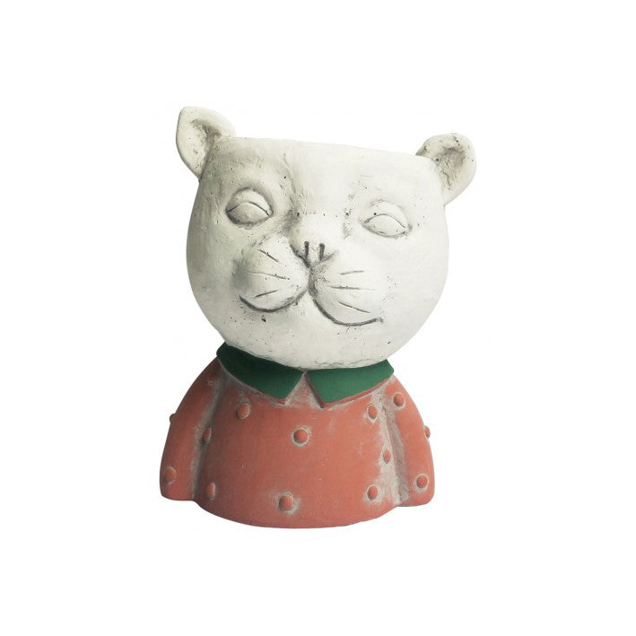 Concrete Red Cat Head Planter Pot