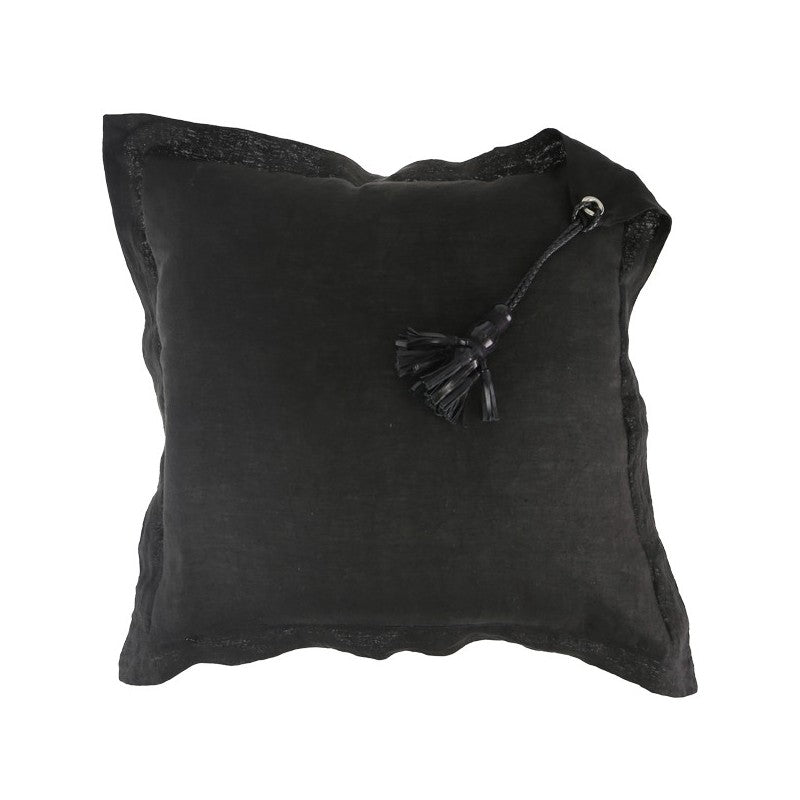 Cushion Tassel Leather Black 60cm x 60cm